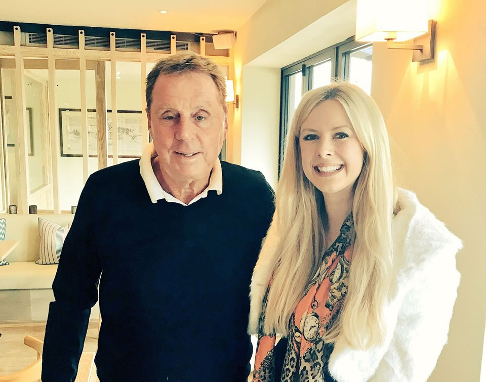 Harry Redknapp takes a photo with, journalist, Emily Victoria, following an exclusive interview. They are in a local restaurant close to Redknapp's home.