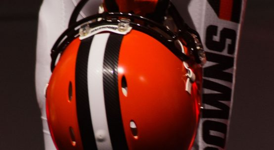 Cleveland Browns helmet and pants at the uniform unveiling