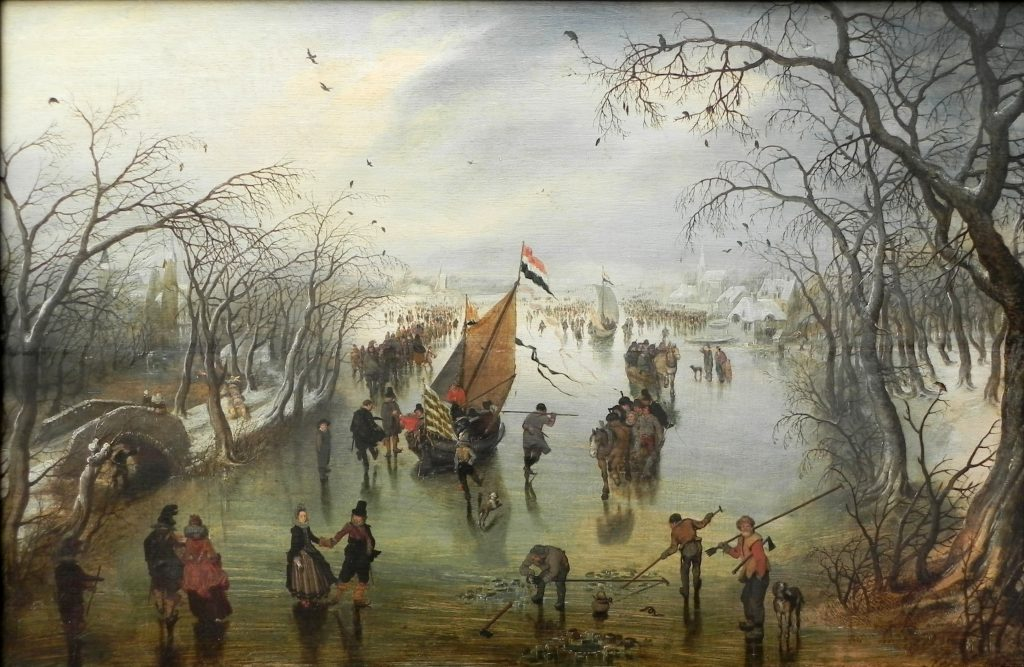 Ice boats sailing in the Netherlands as depicted in Der Winter by Adriaen Pietersz