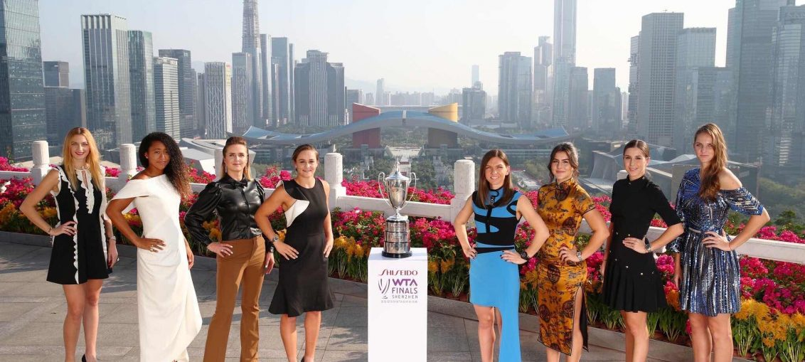 The top eight women with the WTA Finals trophy in Shenzhen, China. Photo credit: Women's Tennis Association (WTA)