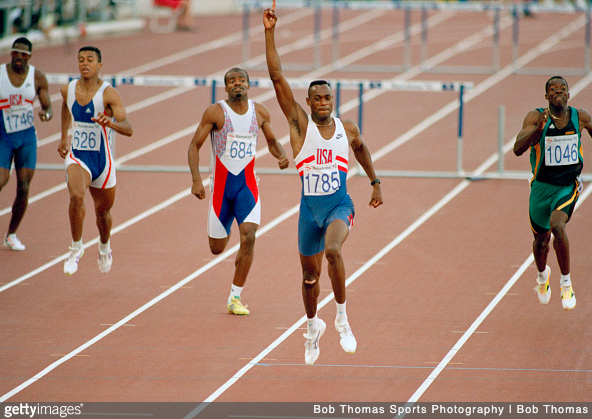 400m world record holder Kevin Young winning the Olympic gold medal