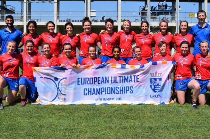 GB Women at the 2019 European Ultimate Championships. Photo: John Kofi