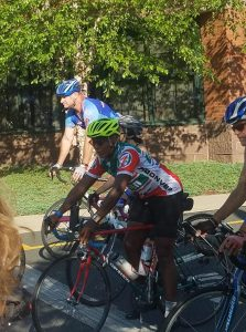 Webb in the middle of a race. Photo courtesy of Karleigh Webb.