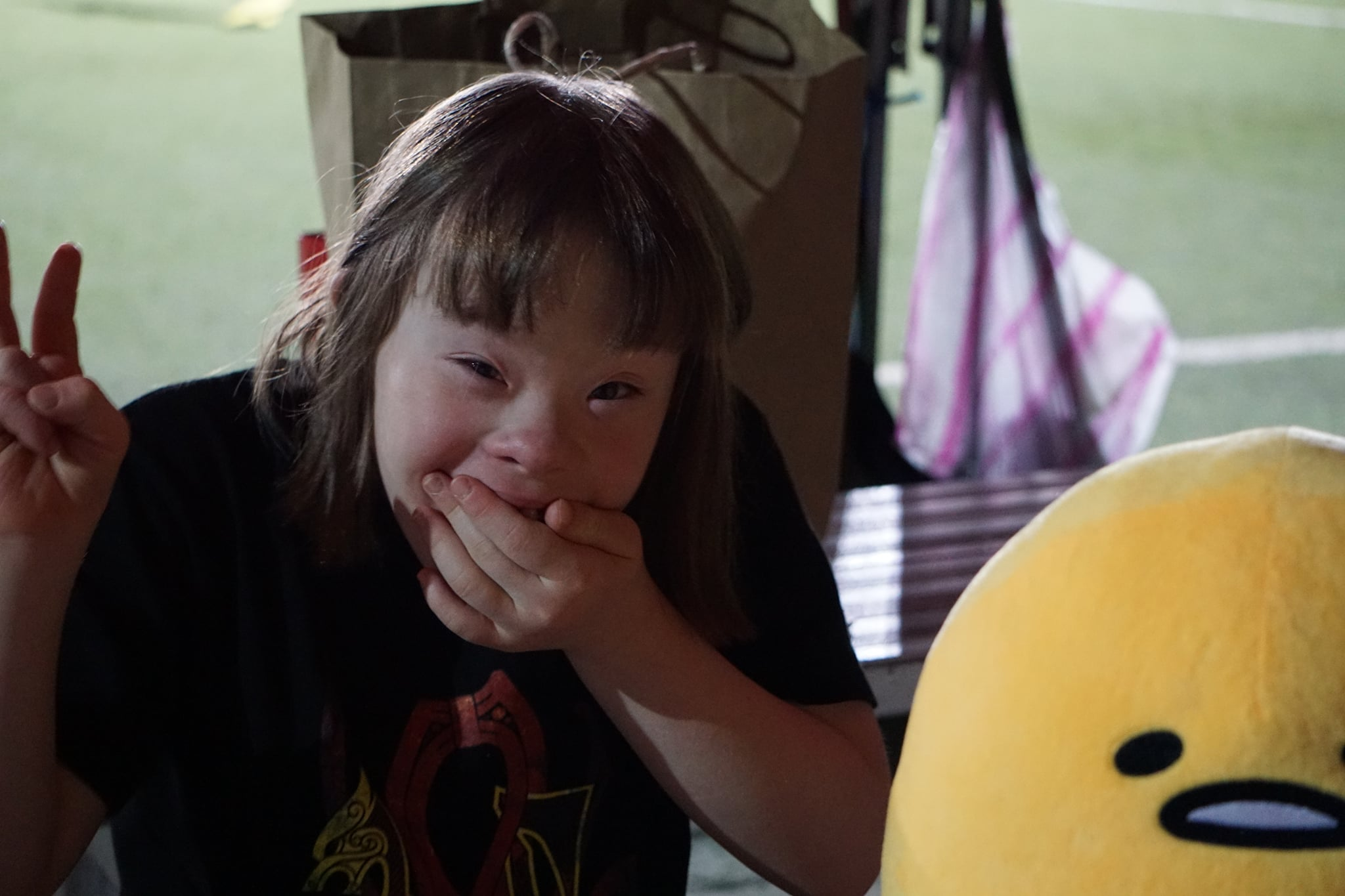 14 year old Semine Nielsen, daughter of Danish football coach Johnni. Semine has Down syndrome.