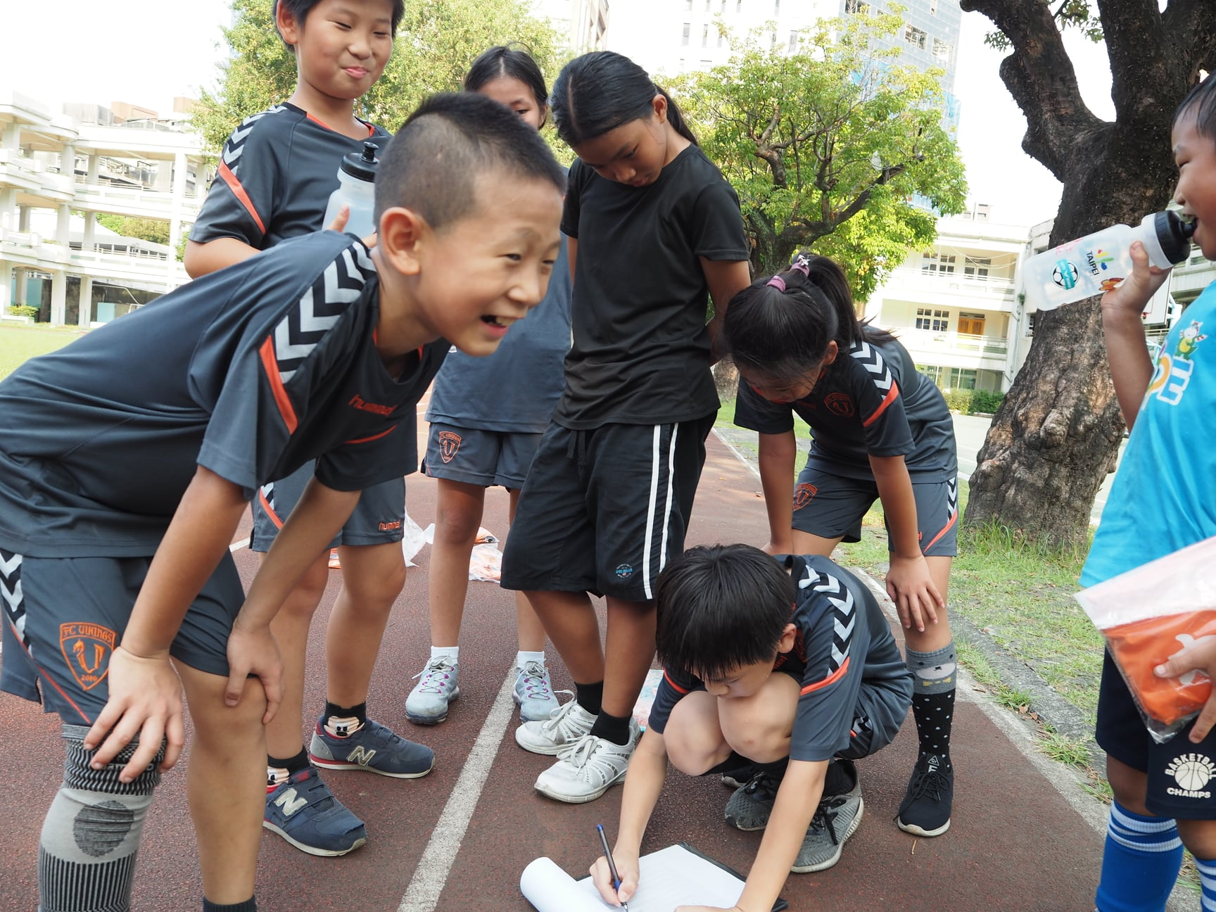 Young Taiwanese footballers enjoy themselves at a free session run by FC Vikings