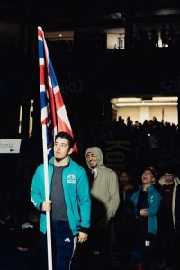 The same group walking out baring the GB flag representing our country at the Tallinn Open