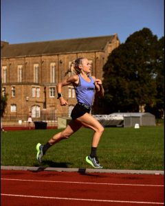 Athlete Becky Briggs training at St Mary's University.