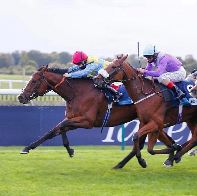 Jockey Georgia Dobie (pink helmet, blue and yellow striped colours) pulls ahead on Lady of Aran at Newmarket