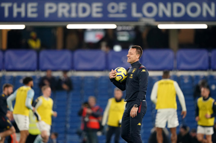 Aston Villa assistant coach John Terry hosts the warm up at Stamford Bridge