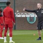 Throw-in coach Thomas Grønnemark running a session with Liverpool