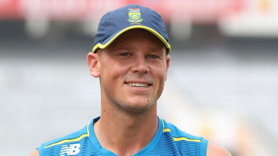 South African cricketer George Linde in national training gear including cap and singlet
