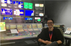 Sky Sports sound engineer Adam Peri, who is responsible for their augmented audio - commonly known as fake crowd noise.