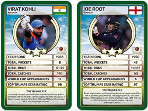 Mocked up Top Trumps cards depicting India captain Virat Kohli and England captain Joe Root