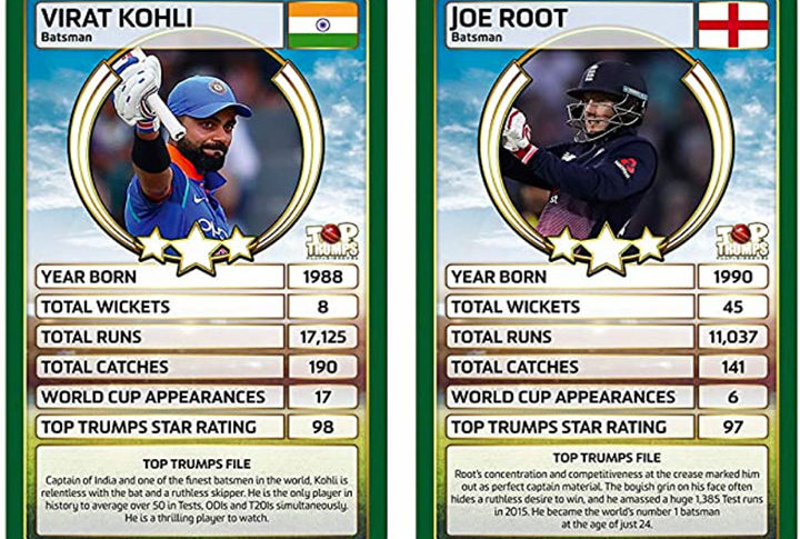 Mocked up Top Trumps cards depicting India captain Virat Kohli and England captain Joe Root