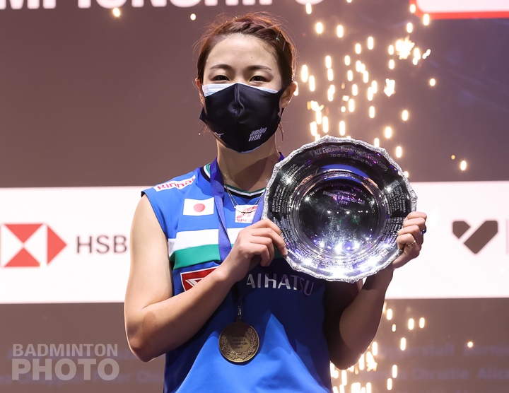 Nozomi Okuhara celebrates her victory at the All England Open 2021